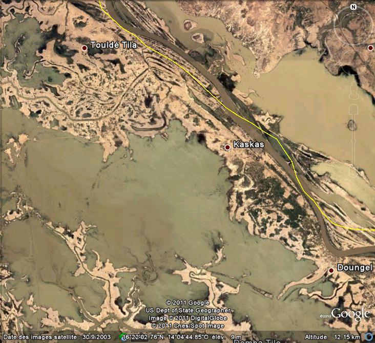 Crues et innondations observées dans Google Earth Inonda10