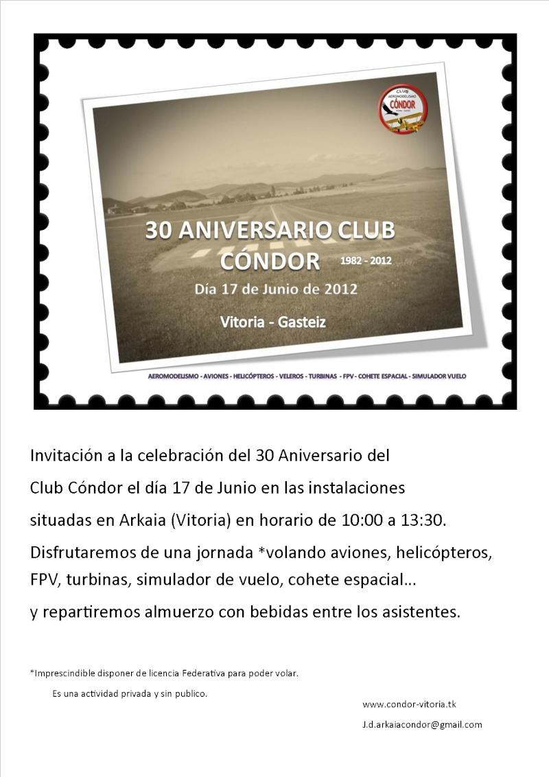INVITACION AL 30 Aniversario del club Cóndor Cartel10