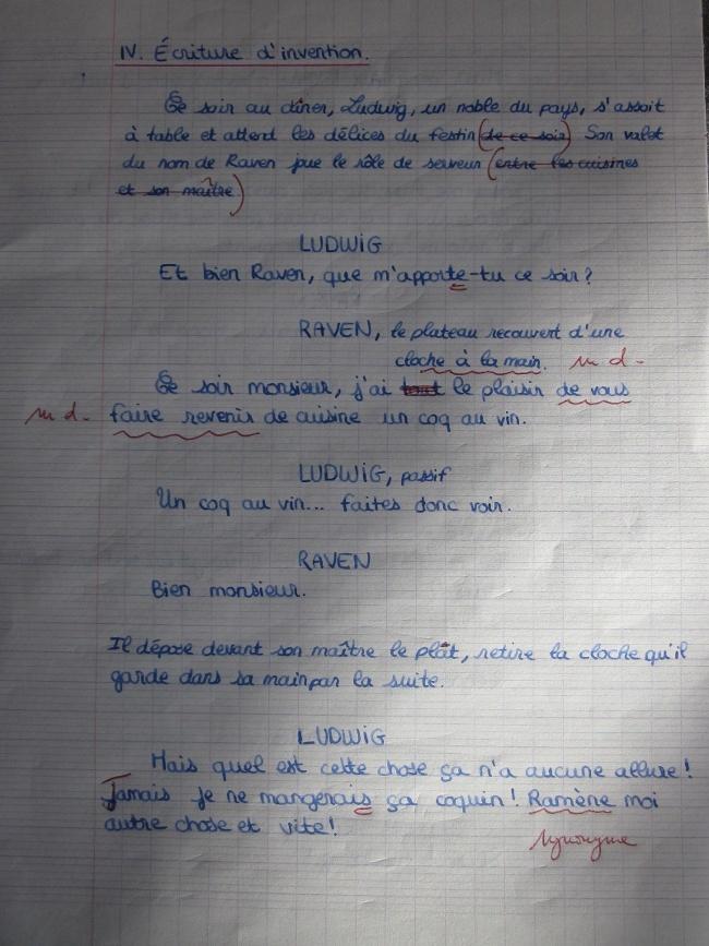 Une expression écrite en DS de Français. 110