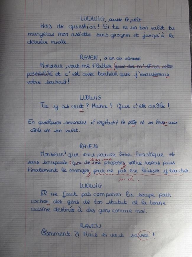 Une expression écrite en DS de Français. 310