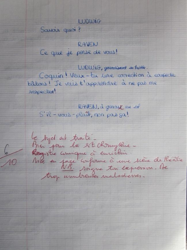 Une expression écrite en DS de Français. 410