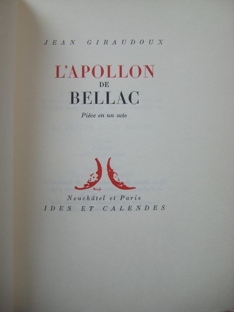 [Giraudoux, Jean] L'Apollon de Bellac Cimg0010