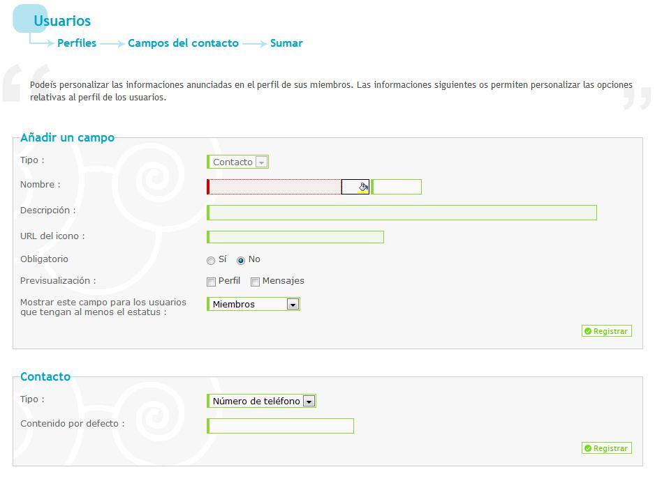 Modificar y crear campos de contactos personalizados. 8210