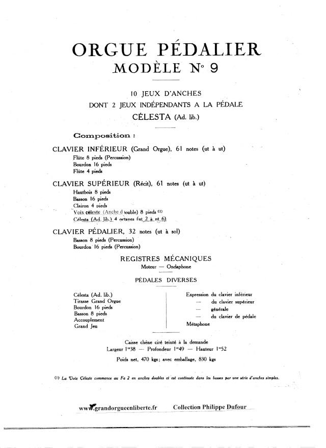 VENTE d'un MUSTEL 2 claviers Pedalier Modele N°9 sans celesta . Page_312