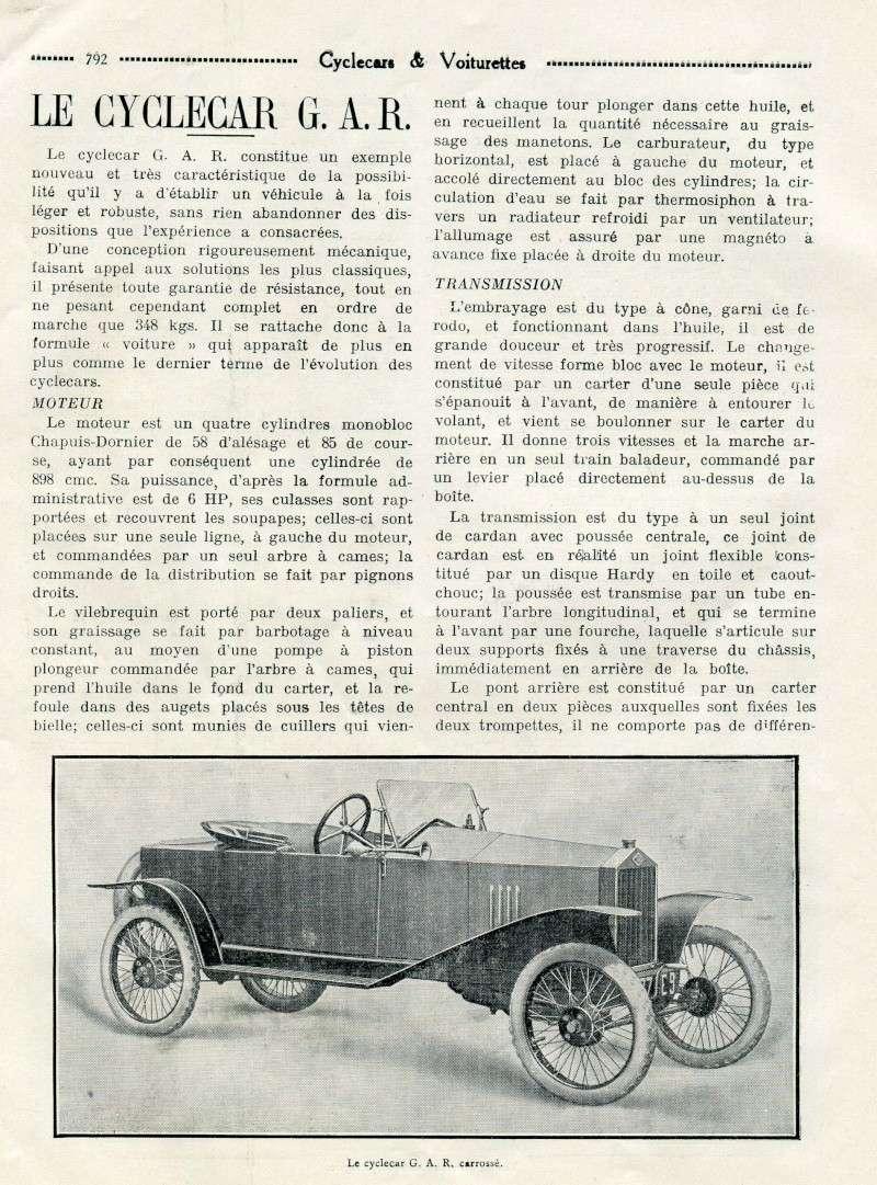 GAR Gardahaut cyclecar voiturette - Page 2 Garcyl10