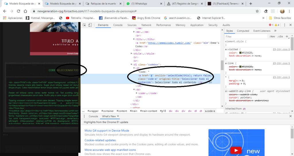 código de seleccionar el contenido Czdigo10