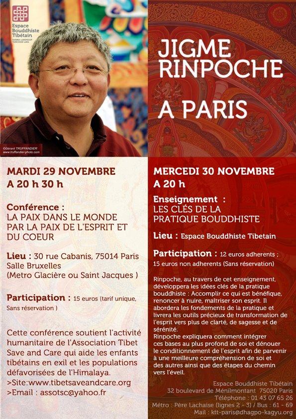 Conférence et enseignement de Lama Jigmé Rinpoché à Paris - 29 et 30 nov. 11112910