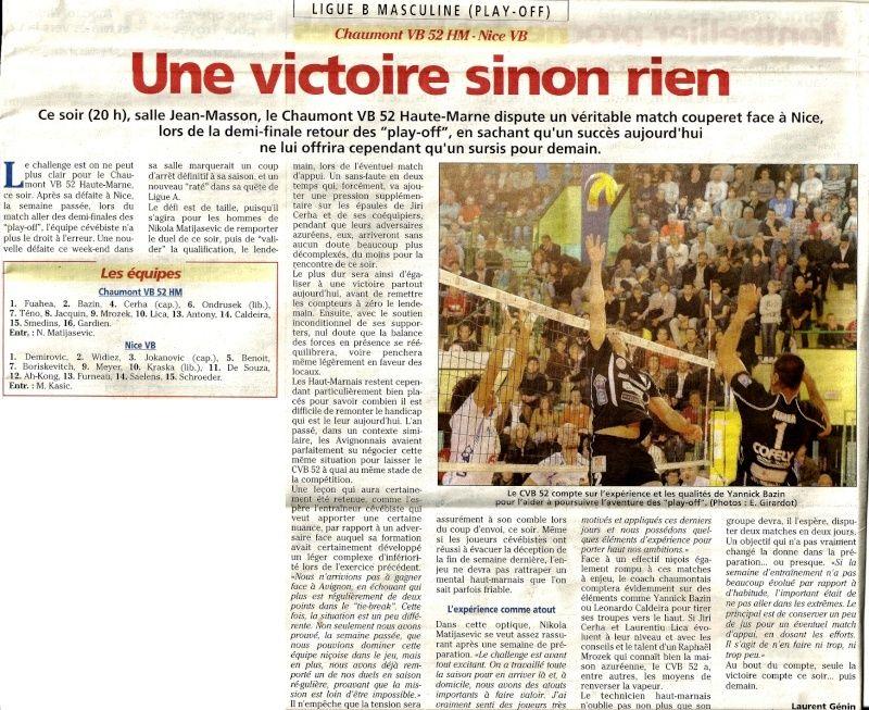 Play-off, demi-final retour CVB52HM / NICE VB - Page 3 Articl10