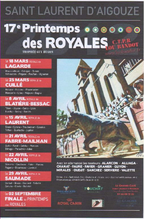 6ème journée du Printemps des Royales à St Laurent avec la Manade NICOLLIN Affich13