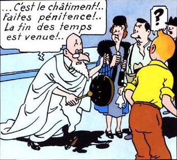 Même Tintin nous avertit de l'arrivée de la comête de l'Avertissement et du Châtiment ! Tintin11