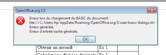 Libre office ou open office ? Erreur13