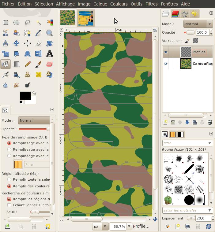 Créer une livrée camouflage toute simple avec Gimp Calque10