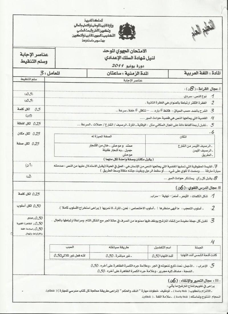 عناصر الإجابة للامتحان الجهوي الموحد في اللغة العربية لنيل شهادة السلك الاعدادي يونيو 2011  (جهة سوس ماسة درعة Arab_c10