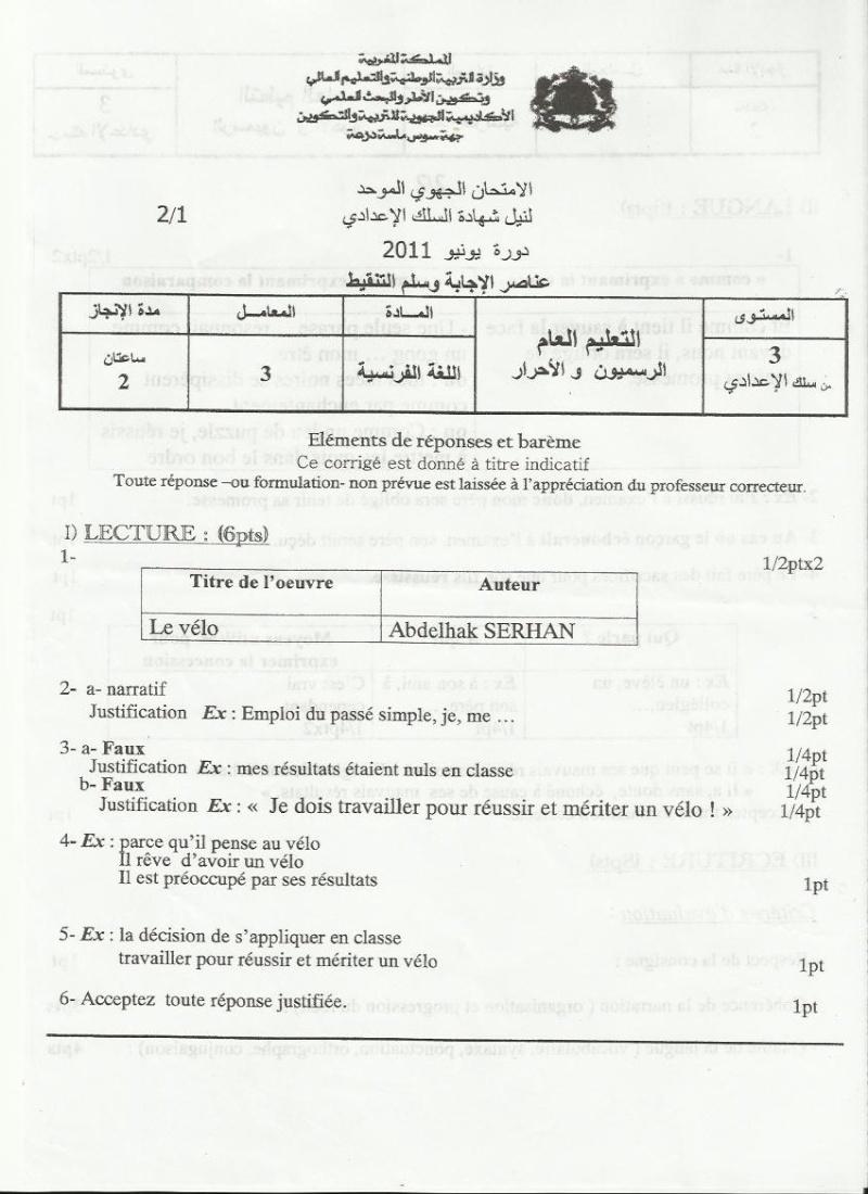 عناصر الإجابة للامتحان الجهوي الموحد في اللغة الفرنسية لنيل شهادة السلك الاعدادي يونيو 2011 (جهة سوس ماسة درعة) Arab_c11