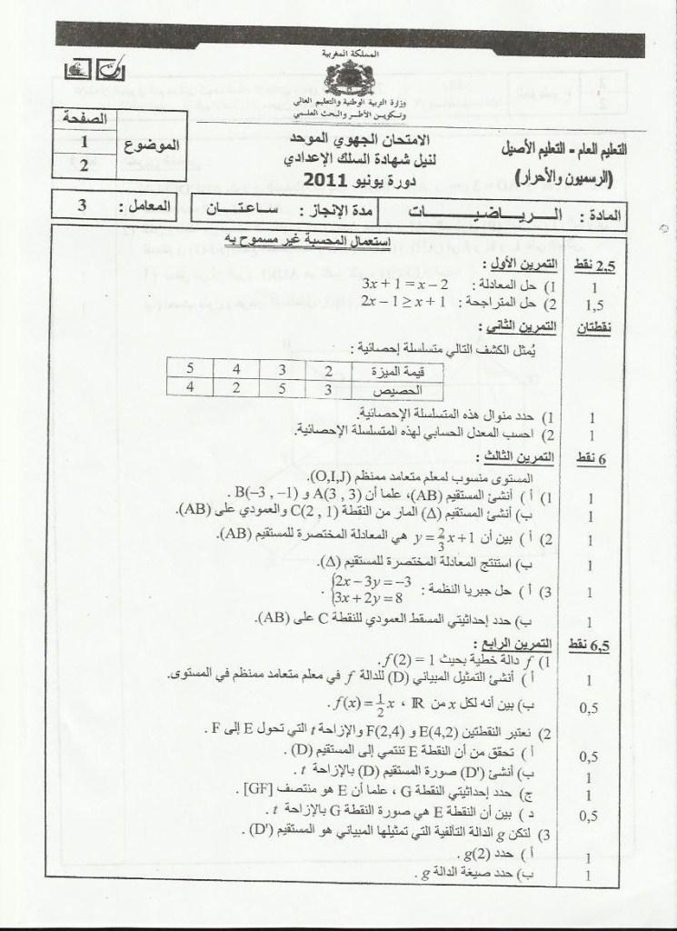 لامتحان الجهوي الموحد في مادة الرياضيات لنيل شهادة السلك الاعدادي يونيو 2011  (جهة سوس ماسة ) Math_110