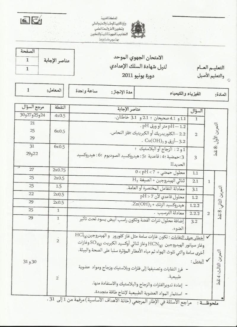عناصر الإجابة للامتحان الجهوي الموحد في الفيزياء والكيمياء لنيل شهادة السلك الاعدادي يونيو 2011  (جهة سوس ماسة درعة Pc_cor10
