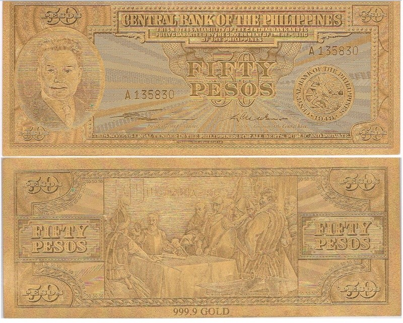 Philippines 50 pesos Gold .999 Banknote 50_pes11