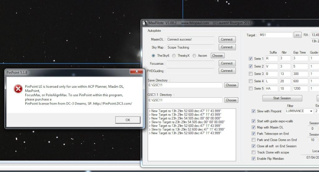 MaxPilote : Soft pour gérer vos soirées avec Maxim DL/FocusMax/Pinpoint/PHDGuiding Bug110