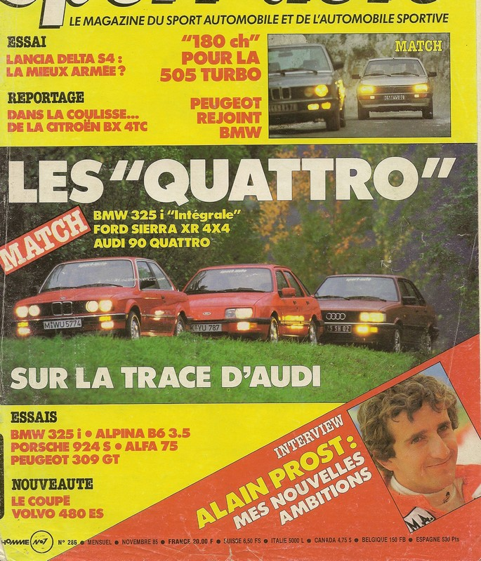 "Comparatifs ""QUATRO""  Sport Auto novembre 1985 Numar105"