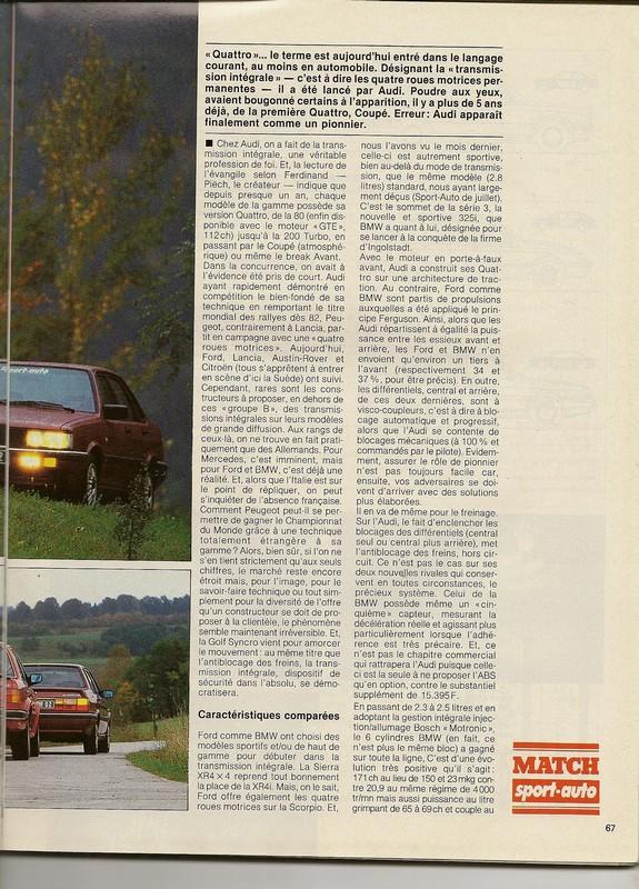 "Comparatifs ""QUATRO""  Sport Auto novembre 1985 Numar107"