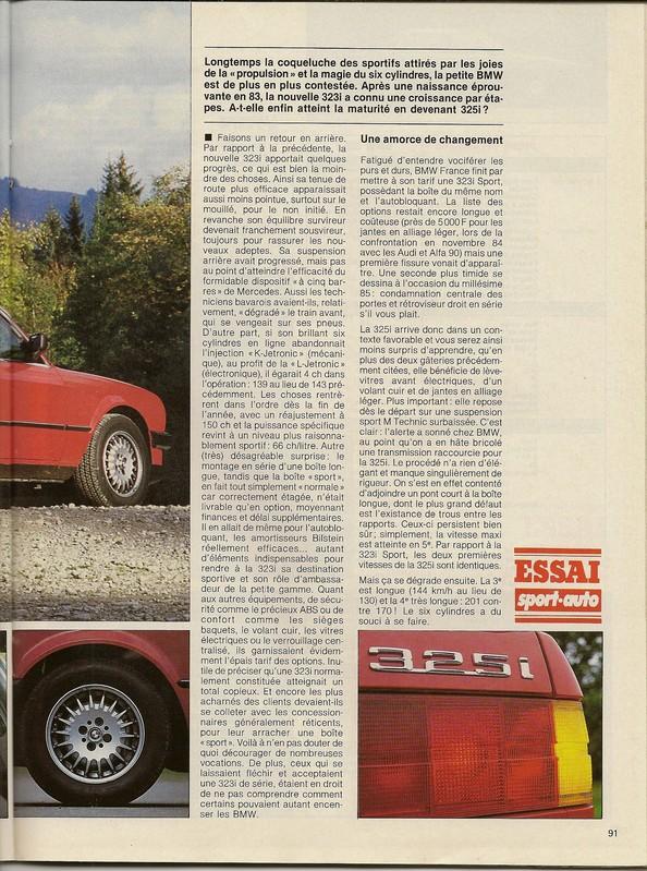 ESSAI 325i  Sport Auto novembre 1985 Numar116