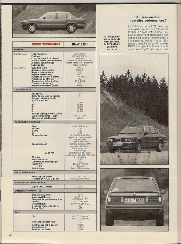 ESSAI 325i  Sport Auto novembre 1985 Numar117