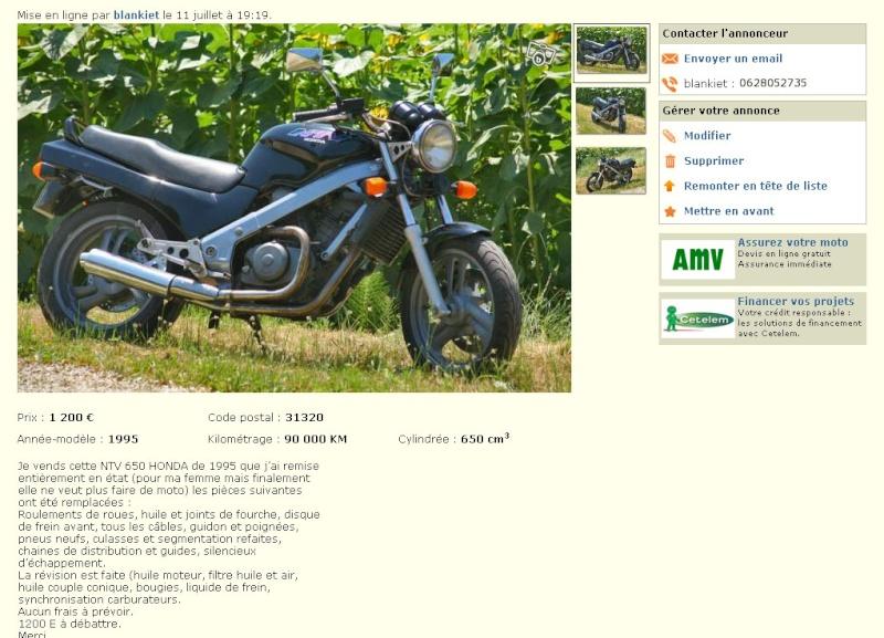 NTV 650 de 1995 90000kms 1200 euros ( vendu) Annonc10