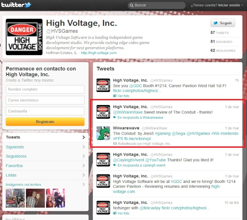 Our Review Of The Conduit Was Mentioned By High Voltage Games On Their Twitter Profile! Hvs_lo10