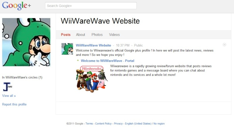 Wiiwarewave's google plus profile is now released ! Wiiwar11