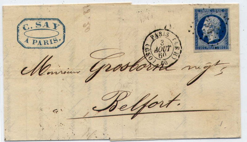Losanges de PARIS 1852 /1863 chiffres bâton ou romaines File0014