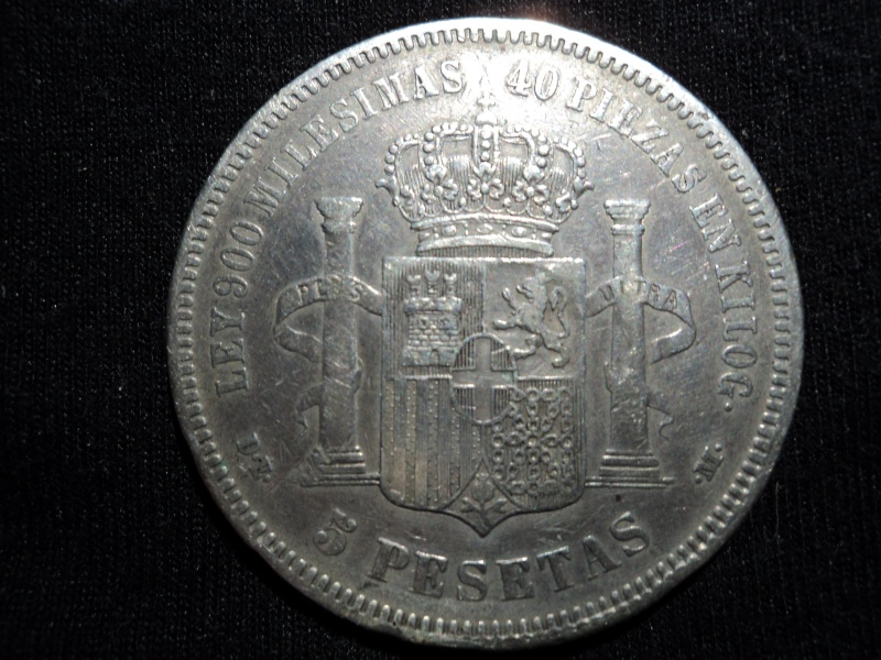 5 pesetas 1871*18*74   AMADEO I REY DE ESPAGNA Dsc00626