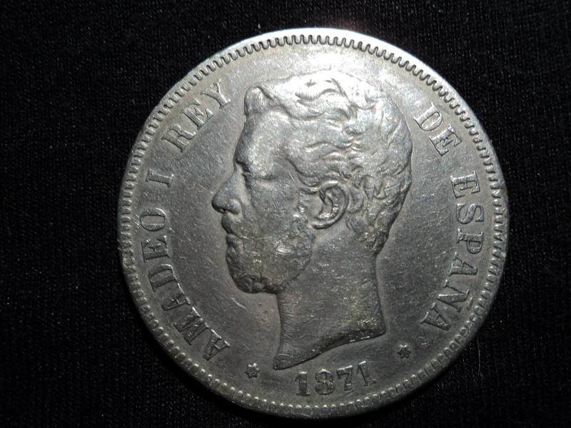 5 pesetas 1871*18*74   AMADEO I REY DE ESPAGNA Dsc00627