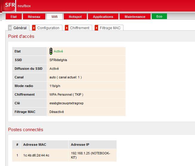 connexion de mon lapin avec box SFR Neufbo16