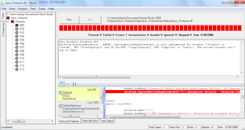 Unable to run the command 'captureEntirePageScreenshot' in some Browsers Nunit10