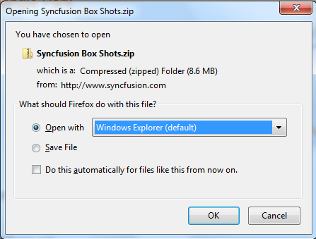 """How to perform """"Ok\Cancel"""" button of a zip file message box that opens from a website in Selenium IDE ? Syncfu11"""