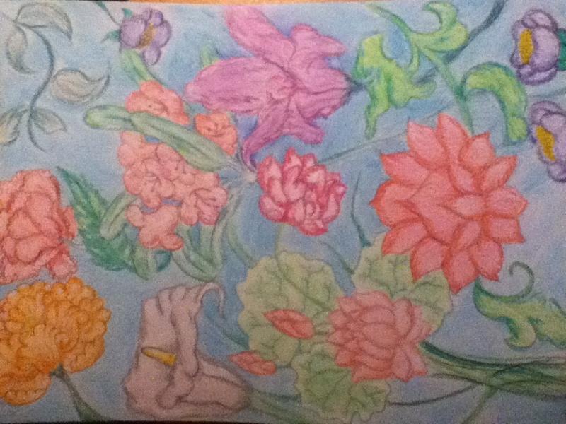 Fleurs au crayons de couleurs Fleurs10