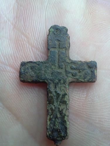 Croix IHS - croix/lance de Longinus/perche avec l'éponge enduite de vinaigre (deux des Arma Christi) - XVIIIème probablement Img20210