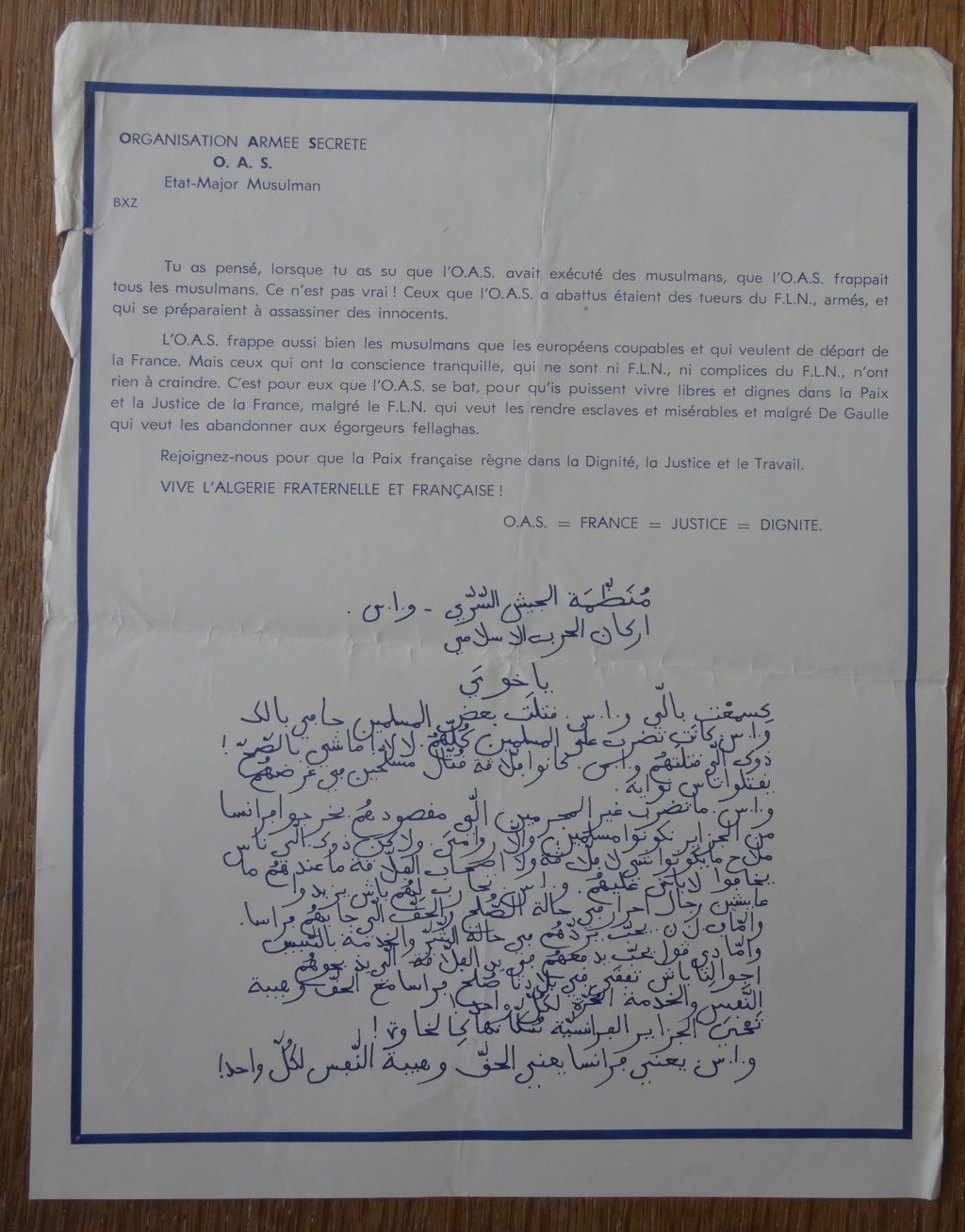 OAS - guerre d'Algérie - documents d'époque? Dsc01513