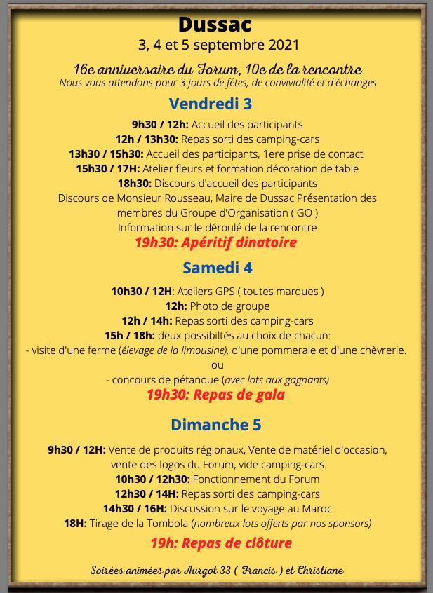 [dussac2021] Affiche de la rencontre avec le programme  Captur14