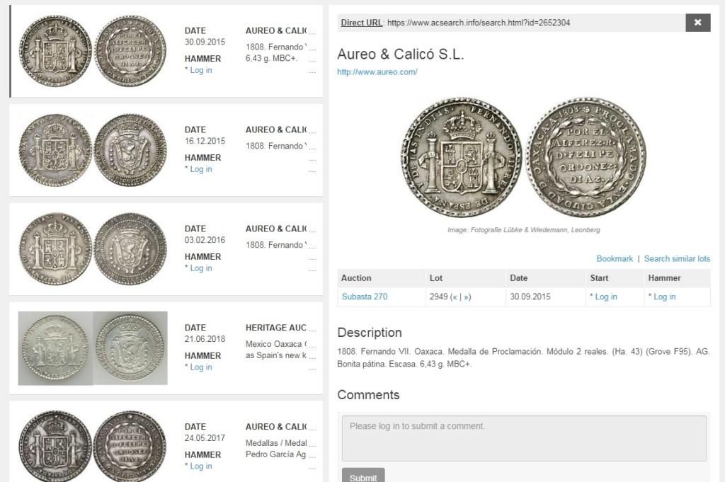 2 Reales Medalla de proclamación Fernando VII Oaxaca 1808 1808_o10