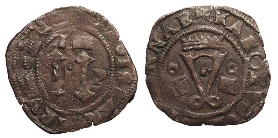 Carlos I y Juana I. 4 Maravedís. Santo Domingo. Fo-IIIIo. Vte Coronas invertidas en la base de las columnas. BC+/MBC- 11210