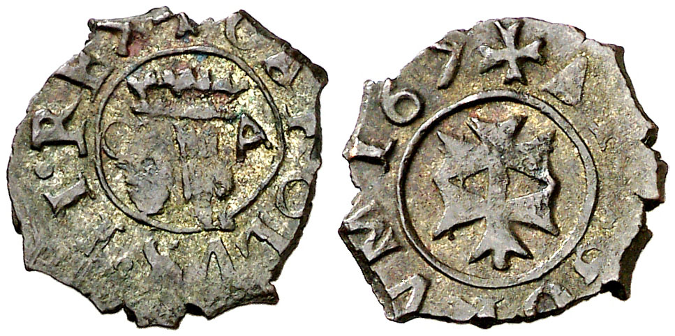 Diner. 167 (sic). Carlos II. Zaragoza. Vte inédita. MBC+. Ex Col. Isabel de Trastámara (Vol. VIII) 167_si10