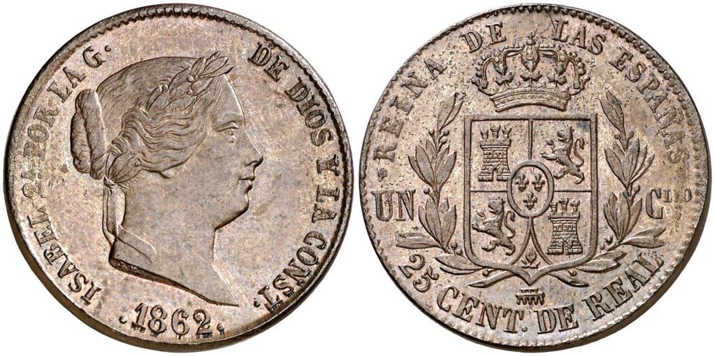 25 Céntimos de Real. 1862. Isabel II. Segovia. EBC+/AU+ 25_cen10
