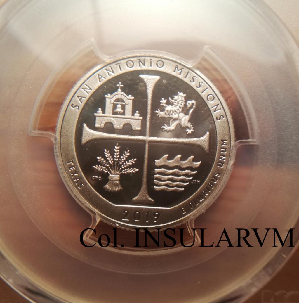 """25 Centavos (""""Quarter""""). EEUU. 2019-S. """"San Antonio Missions NP"""" PR 70 DCAM 25_cen12"""