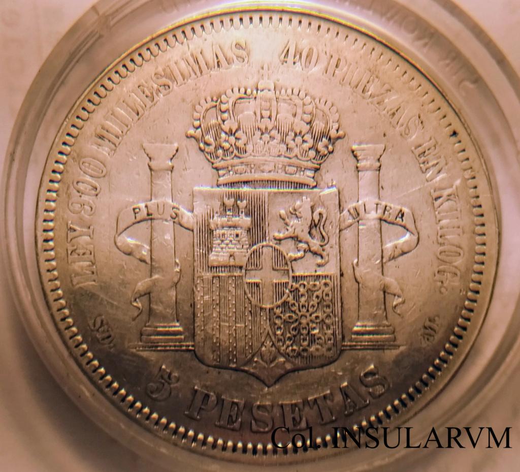"""Amadeo I, 5 Pesetas 1871 (*18-71) SD M Resello """"Bamba"""" 1994. BC+/MBC- 5_pese13"""