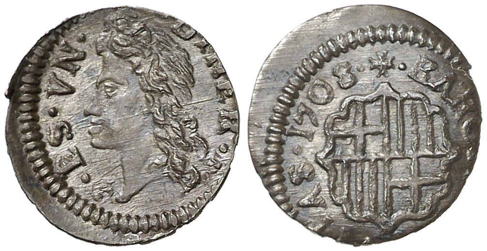 """Dinero. 1708. Barcelona. Carlos III """"El Pretendiente"""". EBC. Ex Crusafont Diner_26"""
