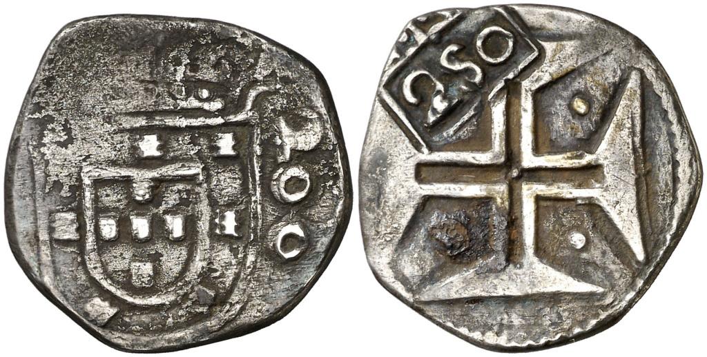 ½ Cruzado. Lisboa. Felipe III. Resello 250 (Alfonso VI). MBC-/MBC Medioc10