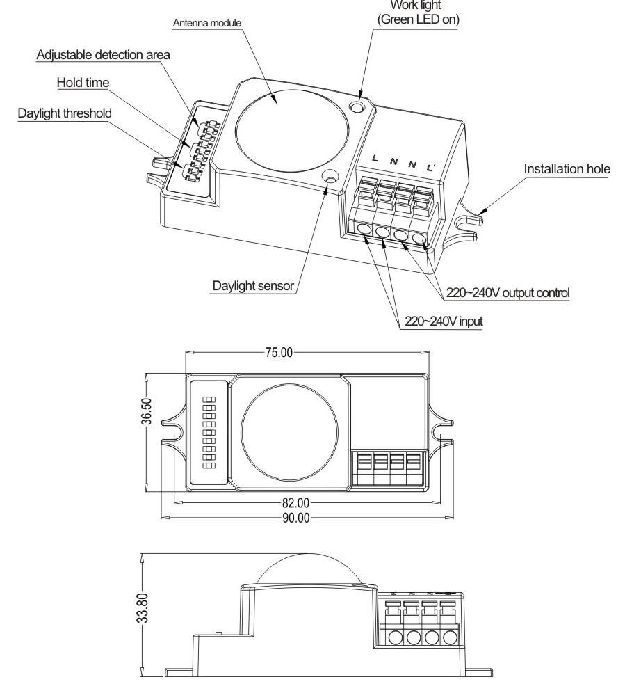 Công tắc cảm biến Radar vi sóng MC008S tùy chỉnh chính xác 20180311