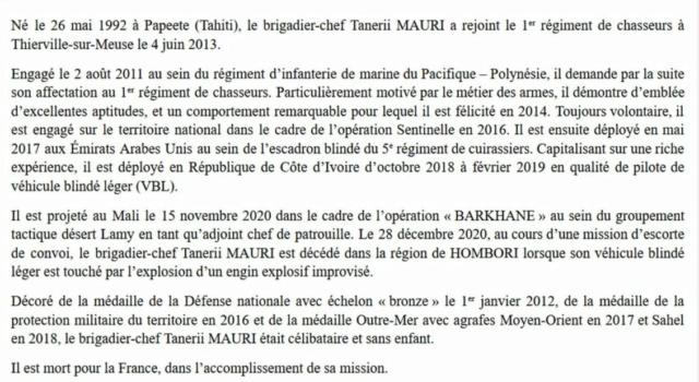 Mali : Décès de trois soldats appartenant au 1er régiment de chasseurs  112