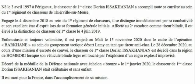 Mali : Décès de trois soldats appartenant au 1er régiment de chasseurs  210